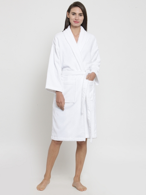Trident Unisex White Solid Bathrobe