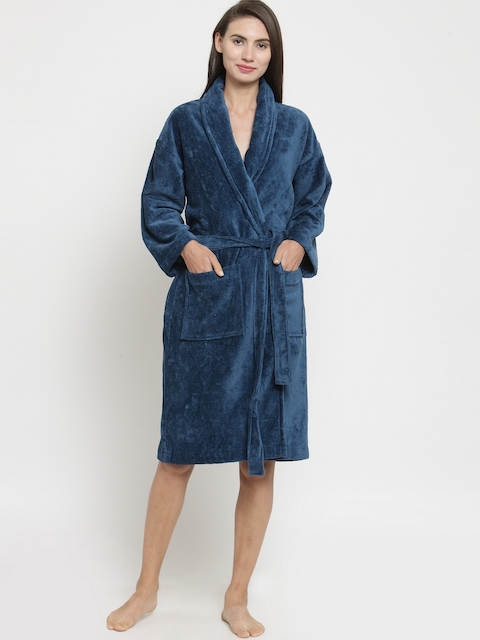 Trident Unisex Blue Solid Bathrobe
