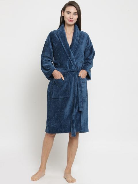Trident Unisex Blue Solid Bathrobe