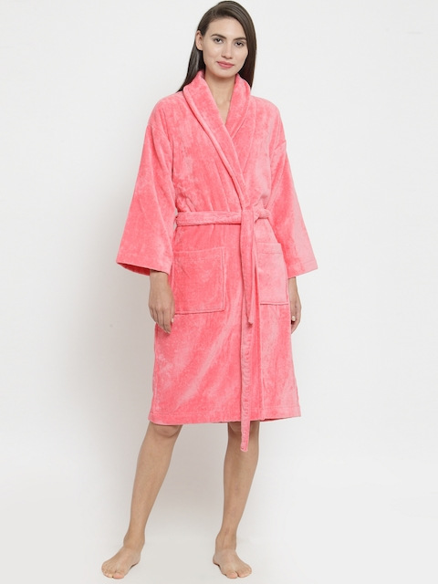 Trident Unisex Pink Solid Bathrobe