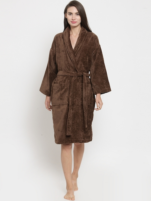 Trident Unisex Brown Solid Bathrobe