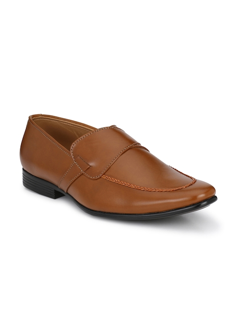 Guava Men Tan Brown Solid Formal Slip-Ons