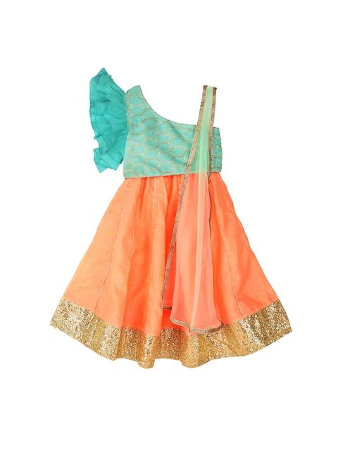 K&U Girls Blue & Orange Printed Ready to Wear Lehenga & Blouse with Dupatta