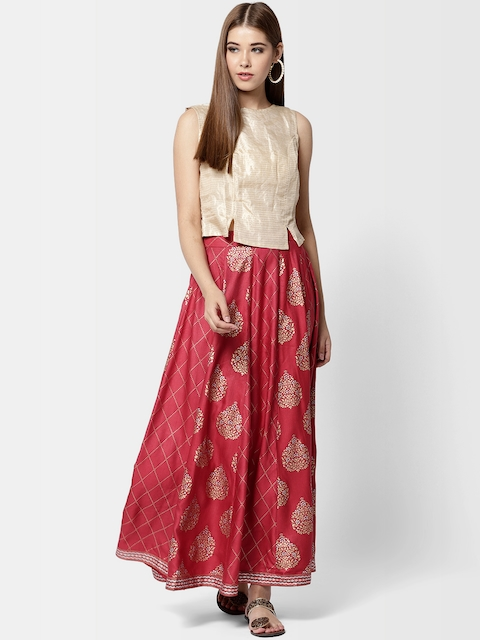 Fabindia Women Beige & Red Printed Top with Skirt