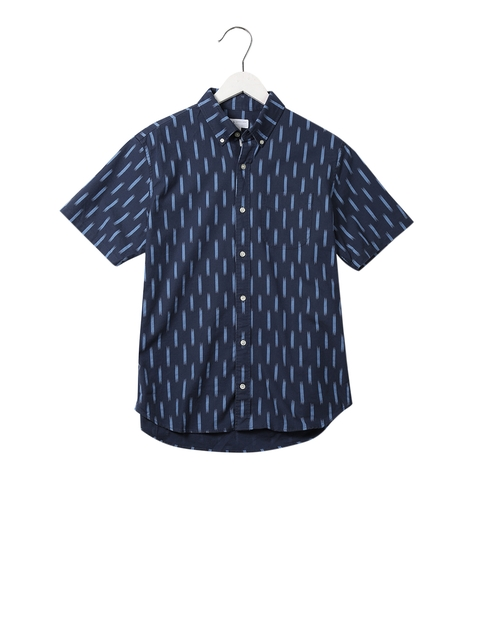 GAP Men Blue Oxford Short Sleeve Shirt In Stretch
