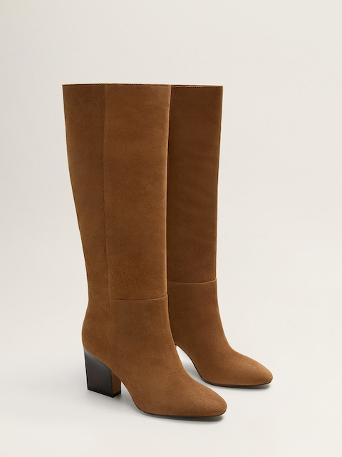 MANGO Brown Leather Heeled Boots