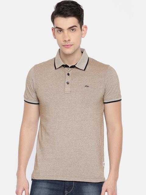 Jack & Jones Men Beige Solid Polo T-shirt