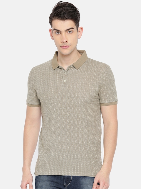 Jack & Jones Men Beige Printed Polo T-shirt