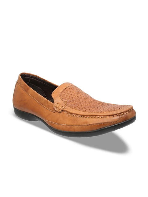 Franco Leone Men Tan Brown Leather Semi-Formal Slip-Ons