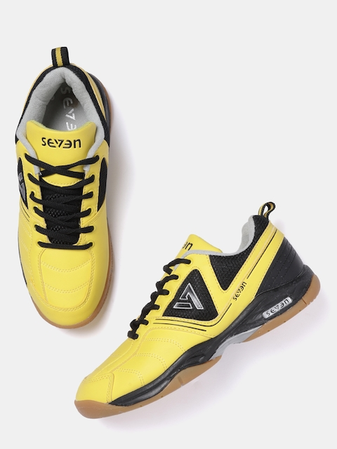 SEVEN by MS Dhoni Men Yellow Badminton Shoes