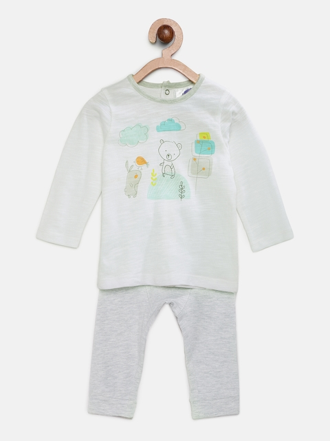 Eimoie Kids White & Grey Printed T-shirt with Pyjamas