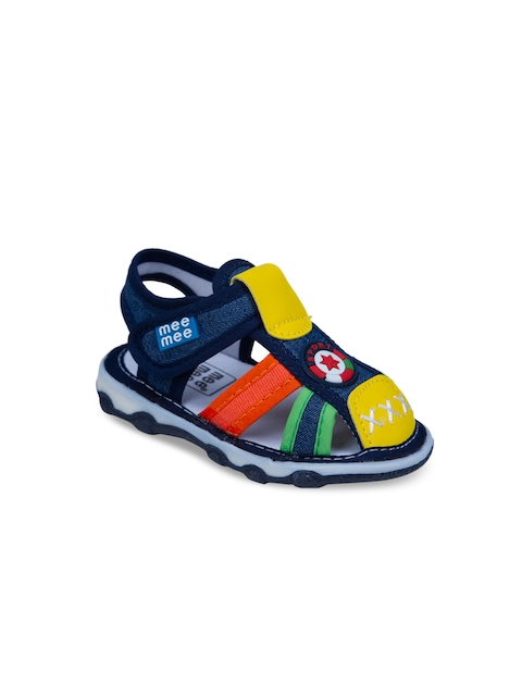 MeeMee Boys Navy Blue & Yellow Fisherman Sandals