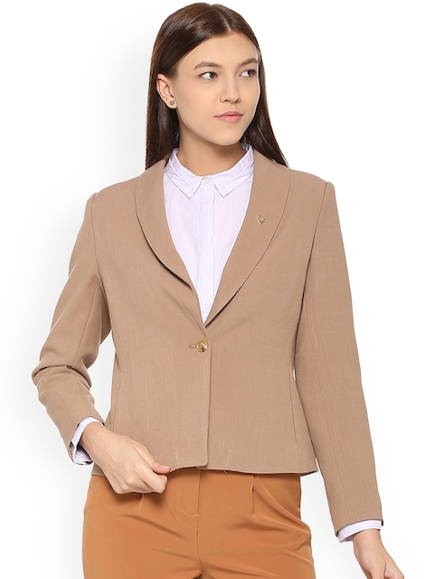 Allen Solly Woman Beige Single-Breasted Blazer