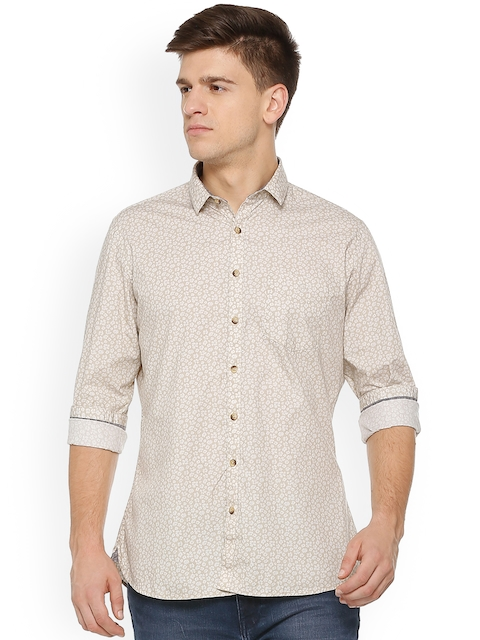 Van Heusen Sport Men Beige Slim Fit Printed Casual Shirt