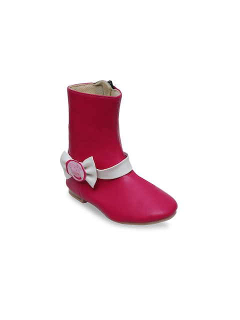 DChica Girls Pink Solid Synthetic Leather High-Top Flat Boots