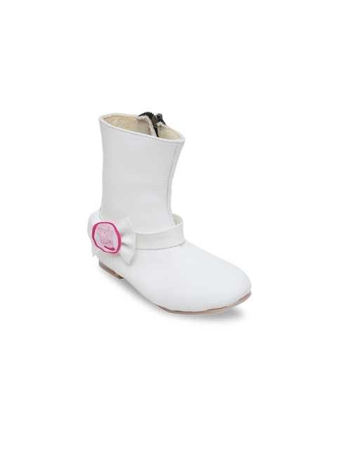 DChica Girls White Solid Synthetic Leather High-Top Flat Boots