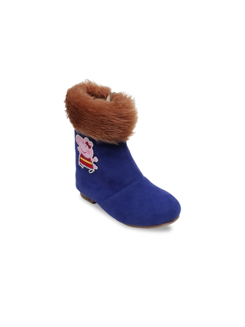 DChica Girls Blue Solid Synthetic Suede High-Top Flat Boots