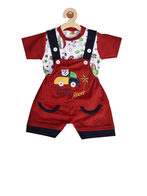 BORN WEAR Kids Red & Navy Blue Printed T-shirt with Dungarees