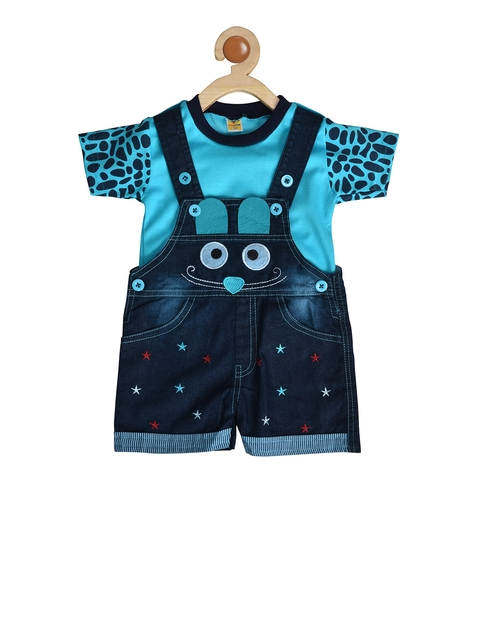 BORN WEAR Kids Blue & Navy Blue Solid T-shirt with Dungarees