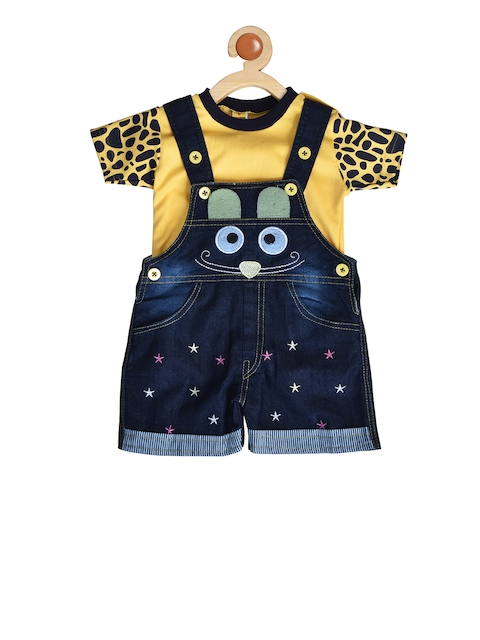 BORN WEAR Kids Yellow & Navy Blue Solid T-shirt with Dungarees