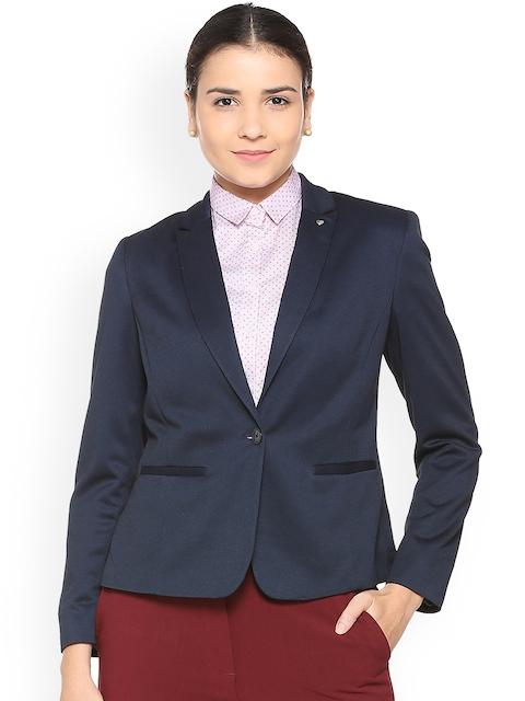Allen Solly Woman Blue Single-Breasted Blazer