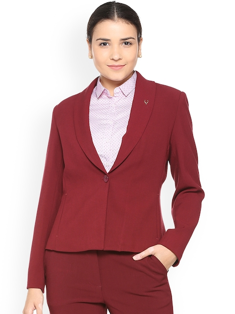 Allen Solly Woman Maroon Single-Breasted Blazer