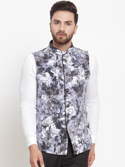 LUXURAZI Men Black & Grey Printed Nehru Jacket