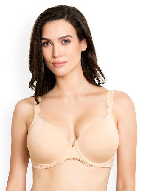Zivame Nude-Coloured Solid Underwired Lightly Padded Everyday Bra ZI1295FASHBROWN