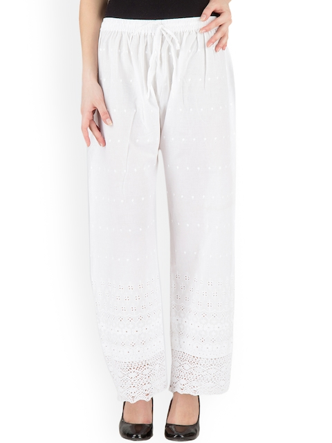 Castle Women White Straight Embroidered Palazzos