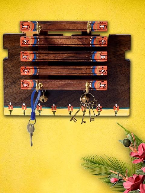 Unravel India Sheesham Unisex Multicoloured Wood handpainted warli art key holder