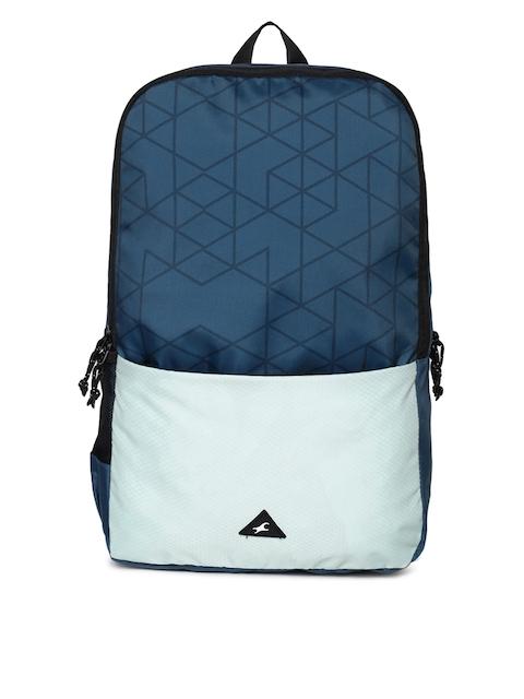 Fastrack Men Blue & White Geometric Backpack