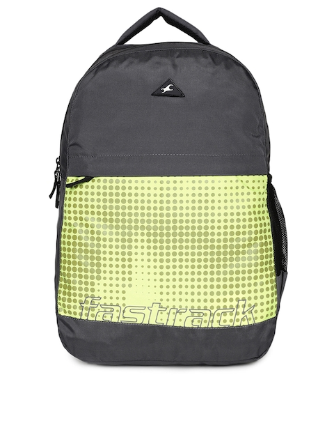 Fastrack Unisex Grey & Yellow Graphic Backpack