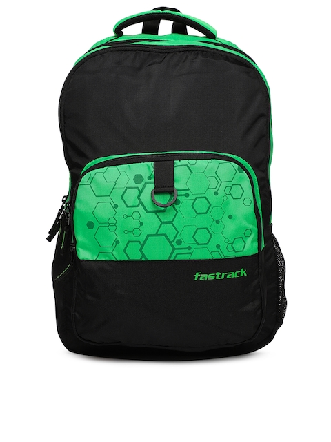 Fastrack Unisex Fluorescent Green & Black Colourblocked Backpack