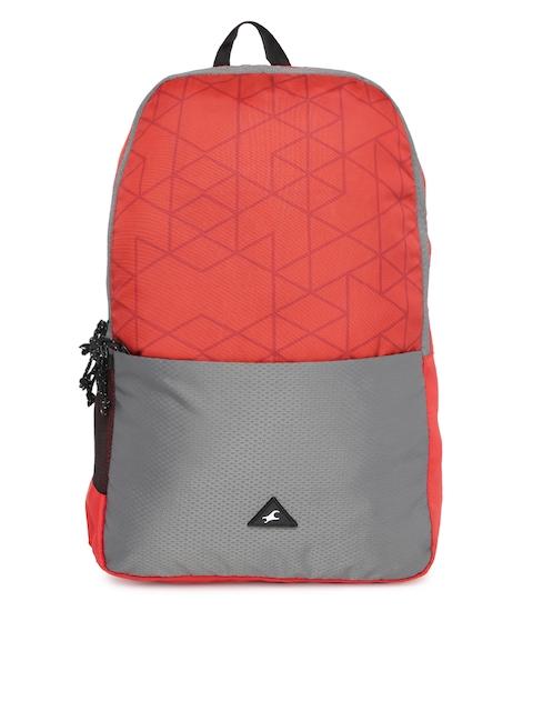 Fastrack Men Red & Grey Colourblocked Backpack