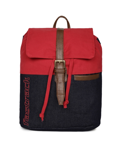 Fastrack Unisex Red & Black Colourblocked Backpack