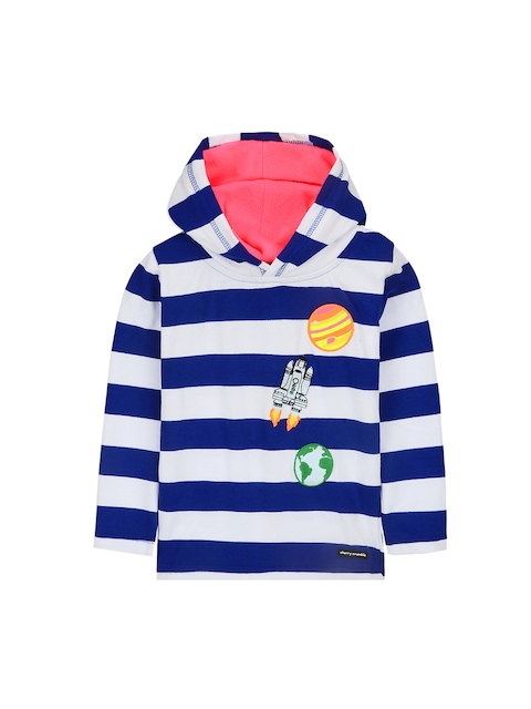 Cherry Crumble Kids White & Blue Striped Hooded Sweatshirt