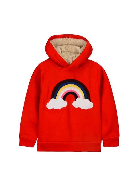 Cherry Crumble Kids Red Printed Hooded Sweatshirt