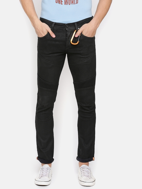 Jack & Jones Men Black Slim Fit Low-Rise Clean Look Stretchable Jeans