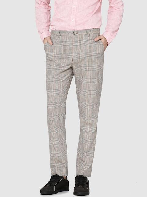 Jack & Jones Men Beige & Navy Blue Slim Fit Checked Regular Trousers