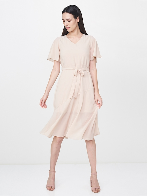 AND Women Beige Solid Semi Sheer Fit & Flare Dress