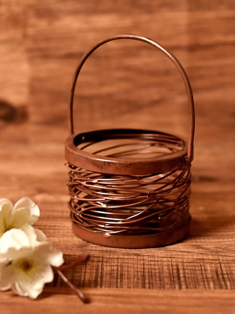 Unravel India Brown Bucket-Shaped Tea Light Candle Holder