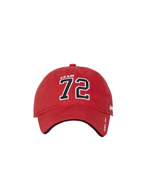 Sportigoo Men Red & Black Solid Baseball Cap