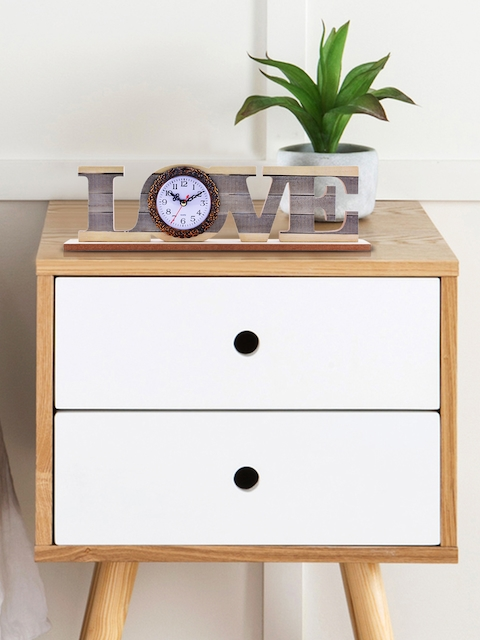 Archies White Quirky Solid Analogue Table Clock