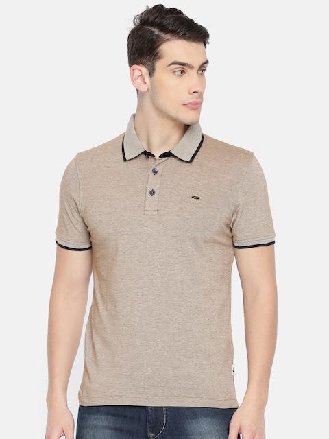 Jack & Jones Men Beige Self-Design T-shirt
