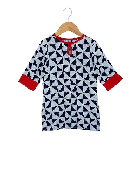 Campana Girls Navy Blue & Blue Geometric Printed Kurti
