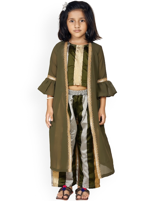 LilPicks Girls Olive Green & Gold-Toned Striped Top with Trousers