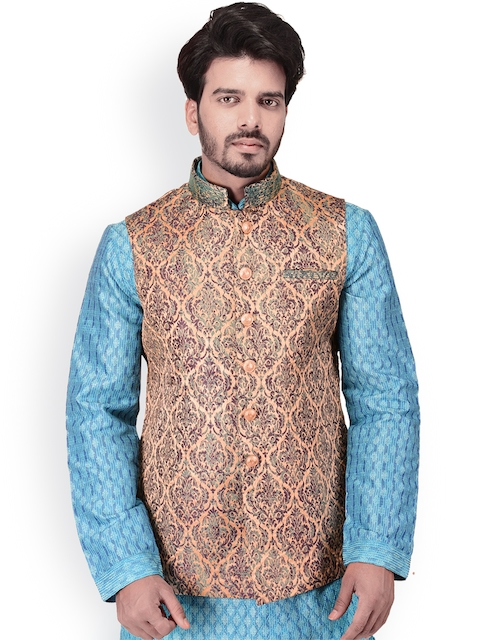 Manyavar Men Multicoloured Woven Design Nehru Jacket