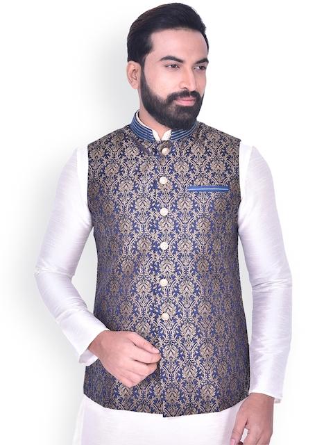 Manyavar Men Blue & Gold-Coloured Woven Design Nehru Jacket