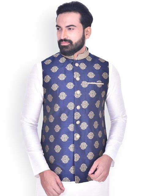 Manyavar Men Blue & Beige Woven Design Nehru Jacket