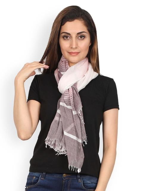 FabSeasons Pink & White Striped Scarf